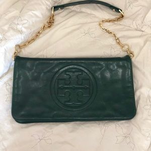Tory Burch fold over clutch with gold chain